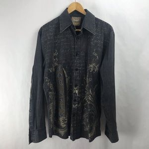 ROAR Embroidered Long Sleeve Button Down Shirt